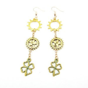 Antique Long Steampunk Earrings With Gears and Leaf Chain Linked - GiftWorldStyle - Luxury Jewelry and Accessories