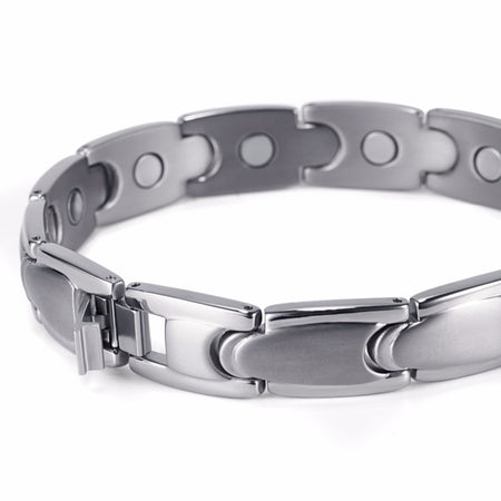 Magnetic Titanium Bracelets For Men With Bio Energy Healing Hologram