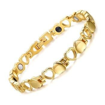 Magnetic Women Bracelet From Heart In Gold-color,Negative Ion - GiftWorldStyle - Luxury Jewelry and Accessories