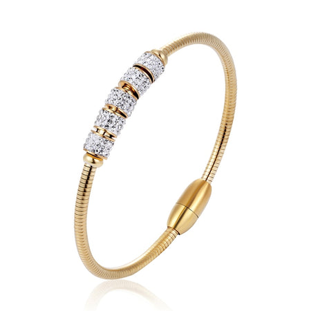 Five Rotating Shiny Zircon Bangle - Stainless Steel - GiftWorldStyle - Luxury Jewelry and Accessories
