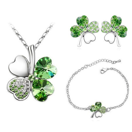 Crystal Leaves Heart Jewelry Sets - GiftWorldStyle - Luxury Jewelry and Accessories