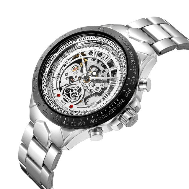 Hollow Skeleton Mechanical Watch With Self-Wind Wrist, Luminous Hands - GiftWorldStyle - Luxury Jewelry and Accessories