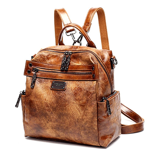 Vintage Genuine Leather Backpack In Retro Style With Soft Handle, Tassel