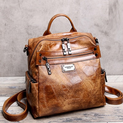 Vintage Leather Backpack In Retro Style With Soft Handle, Tassel - GiftWorldStyle - Luxury Jewelry and Accessories