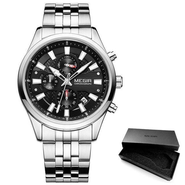 Men's Quartz Watch With Stainless Steel Strap And Luminous Hands - GiftWorldStyle - Luxury Jewelry and Accessories