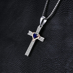 Blue Sapphire Cross Heart Necklace - GiftWorldStyle - Luxury Jewelry and Accessories