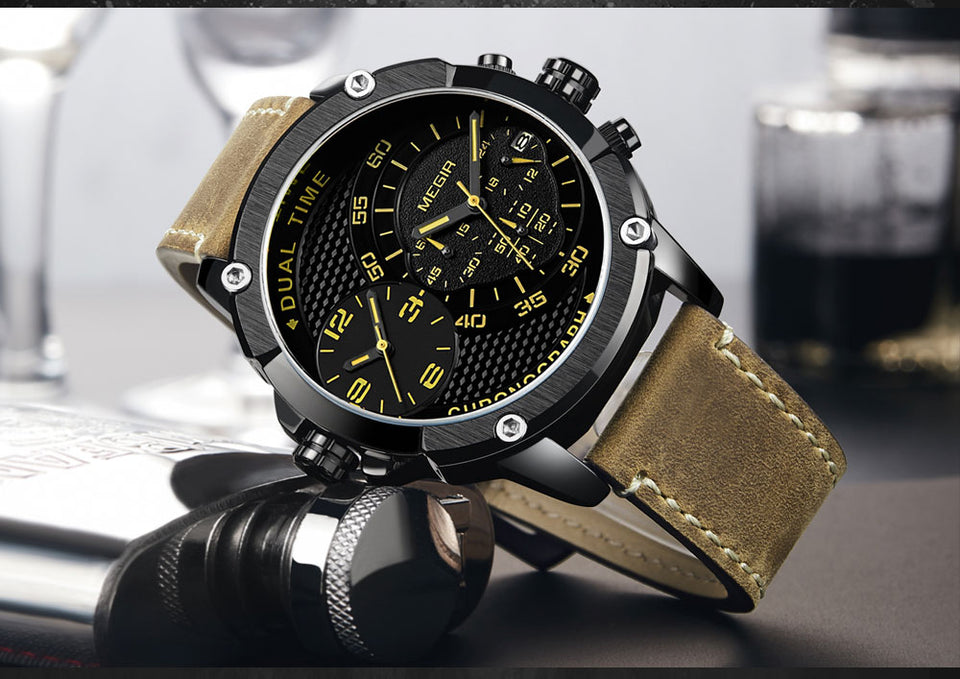 Men's Double Time Zone Quartz Watch And Waterproof Leather Strap - GiftWorldStyle - Luxury Jewelry and Accessories