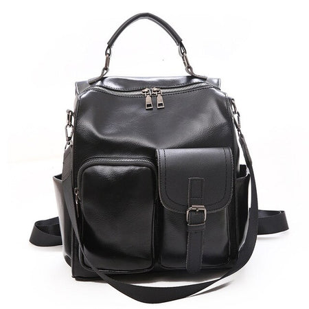 Women's Rucksack From Vintage Leather With Small Pockets And Key Chain Holder