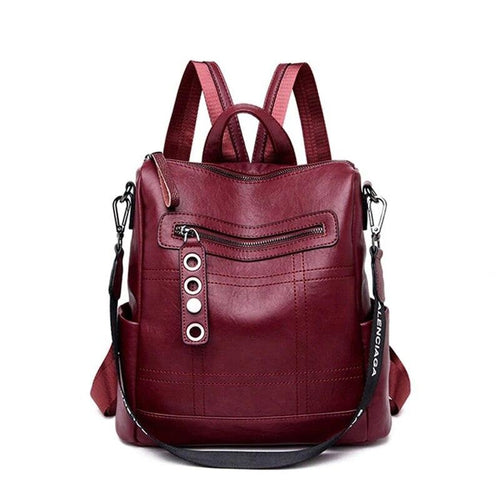 Soft Leather Backpack In Retro Style With Soft Handle, Tassel And Еyelets