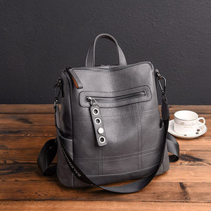 Soft Leather Backpack In Retro Style With Soft Handle, Tassel And Еyelets - GiftWorldStyle - Luxury Jewelry and Accessories