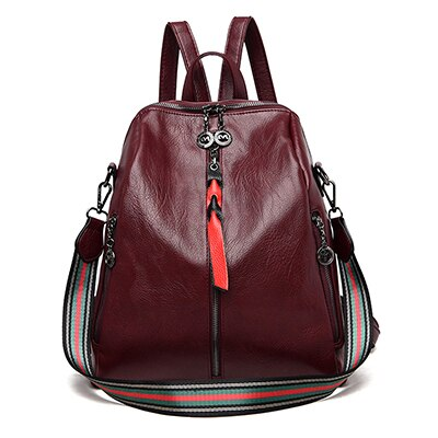 Women's Leather Backpack With Soft Colorful Handle, Embossing