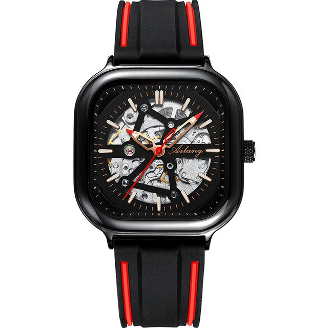 Men's Mechanical Square Skeleton Watch With Chronograph, Push Button Hidden Clasp - GiftWorldStyle - Luxury Jewelry and Accessories