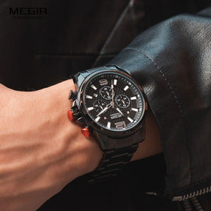 Chronograph Quartz Watch With Waterproof Stainless Steel Dial, Auto Date - GiftWorldStyle - Luxury Jewelry and Accessories