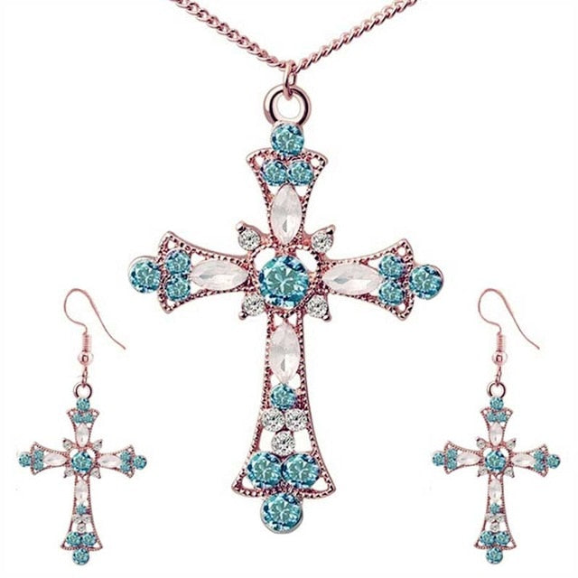 Jesus Flower Religion Crystal Cross & Earrings - GiftWorldStyle - Luxury Jewelry and Accessories