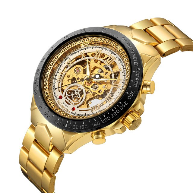 Men's Mechanical Watch With Folding Clasp with Safety, Water Resistant - GiftWorldStyle - Luxury Jewelry and Accessories