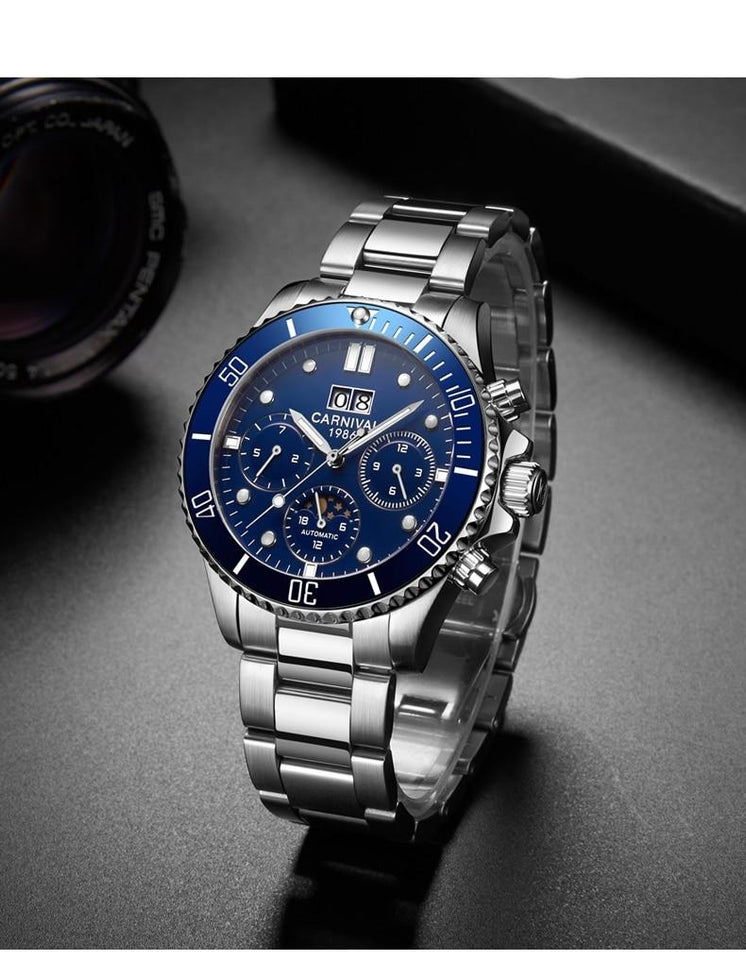 Men's Mechanical Watches With Sapphire Crystal And Date, Week Moon Phase - GiftWorldStyle - Luxury Jewelry and Accessories