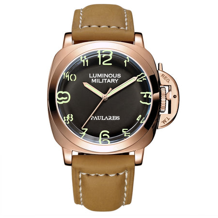 Mechanical Self Wind Luminous Watch With Coated Glass, Leather Strap