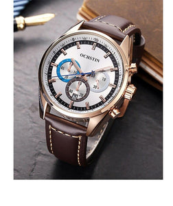 Quartz Watch For Men With Auto Date, Luminous Hands And Three Dials - GiftWorldStyle - Luxury Jewelry and Accessories