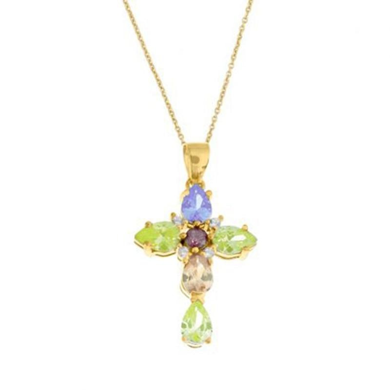 Colored Zirconia Cross Necklace - 925 Sterling Silver - GiftWorldStyle - Luxury Jewelry and Accessories