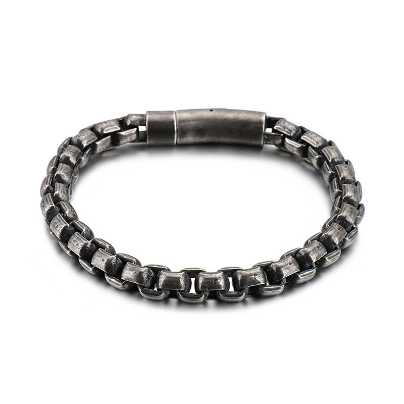 Vintage Stainless Steel Box Chain Bracelet - GiftWorldStyle - Luxury Jewelry and Accessories