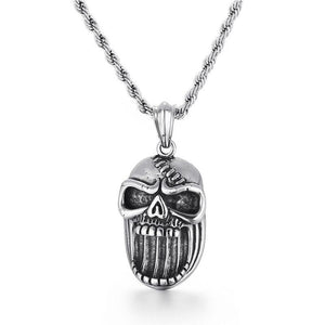 Skull Punk Necklace Pendant - Stainless Steel - GiftWorldStyle - Luxury Jewelry and Accessories