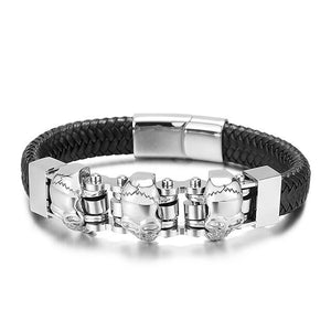 Skull Head Cowhide Braided Bracelet 12mm - GiftWorldStyle - Luxury Jewelry and Accessories