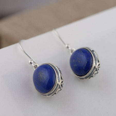 Lapis Lazuli Drop Earrings - 925 Sterling Silver - GiftWorldStyle - Luxury Jewelry and Accessories