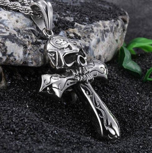 Gothic Biker Skull Cross Necklace - GiftWorldStyle - Luxury Jewelry and Accessories