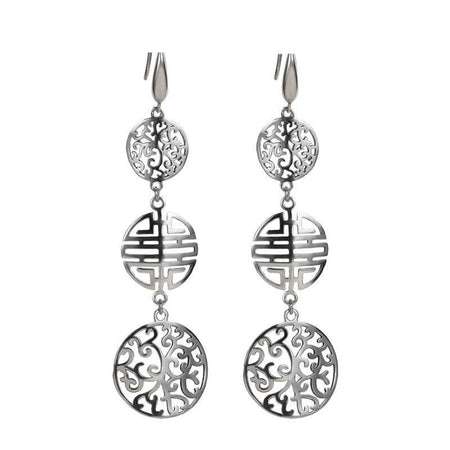 925 Sterling Silver Hollow Ethnic Drop Earrings - GiftWorldStyle - Luxury Jewelry and Accessories