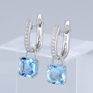 Jewelry Sets for Women Bridal Shimmering Blue Crystal Jewelry Set Earrings Ring 925 Sterling Silver
