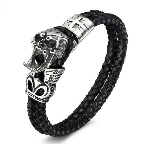 Rope Skull Bracelet Black Leather  - Stainless Steel