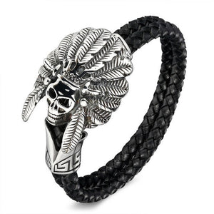 Vintage jewelry Stainless Steel Skull Bracelets Black Synthetic Leather Rope Hand Chain Men