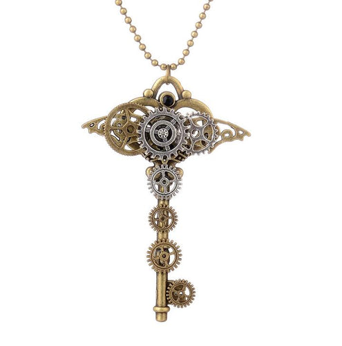 Vintage Steampunk Necklace With Brilliant Shape Key with Gears