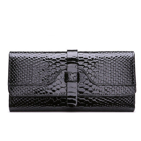 Long Women Wallet From Leather With Card Holder And Serpentine