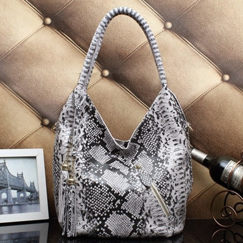 Shiny Snake Shoulder Bag From Real Leopard Leather