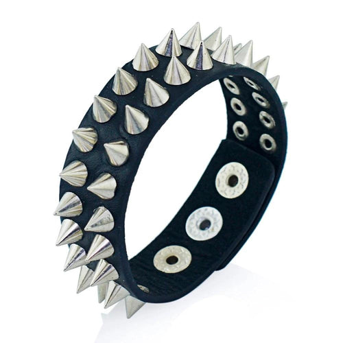 Gothic Cuspidal Spikes Rivet Cone Leather Bracelet