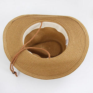 Woman Summer Straw Cowboy With Head Connection