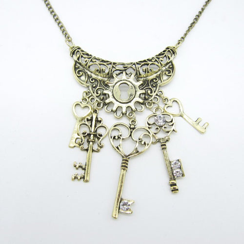 Steampunk Necklace with Multi Key From  Alloy Metal Part,Brass - GiftWorldStyle - Luxury Jewelry and Accessories