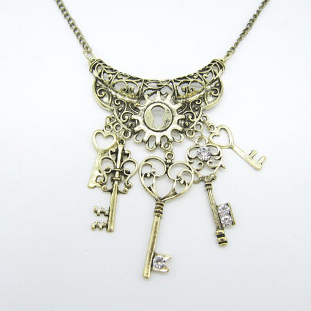 Steampunk Necklace with Multi Key From  Alloy Metal Part,Brass