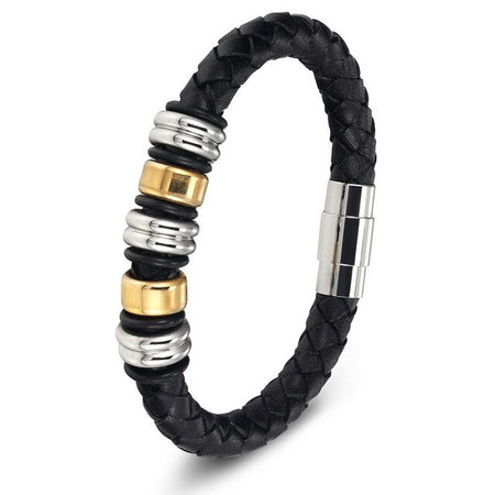 Genuine Leather Bracelet With Magnetic Clasp - Stainless Steel