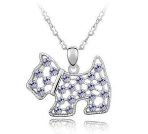 Scottie Dog Puppy Pendant Necklace With Crystals