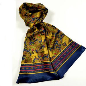 Men Classical Pattern Silk Scarf Cravat Printed Paisley Bird Pattern Long Scarves Autumn Winter Male Scarf