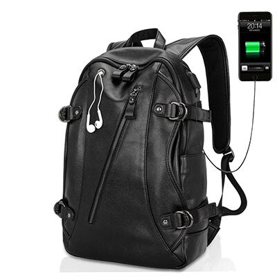 Usb Charging Backpacks PU Leather Backpack Men's Casual Travel Bags Big Capacity Backpacks Zipper