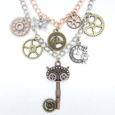 Layered Rows Steampunk Necklace With Multy Gears And Owl Look Key