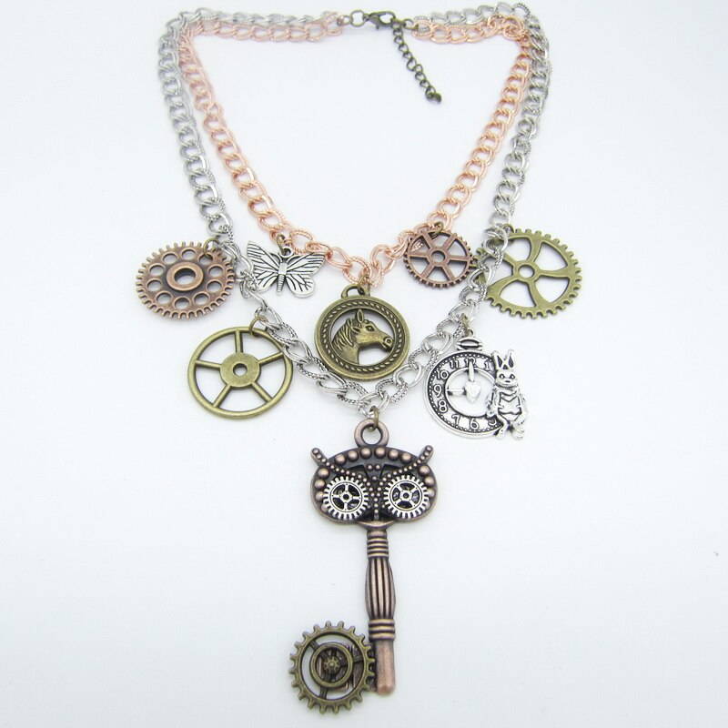 Layered Rows Steampunk Necklace With Multy Gears And Owl Look Key - GiftWorldStyle - Luxury Jewelry and Accessories