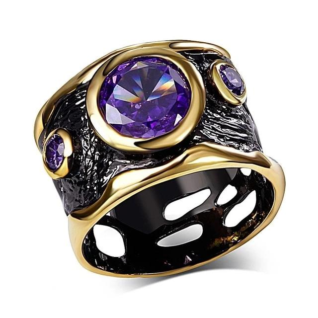 Vintage Gothic Ring for Women - Black Gold, Purple CZ