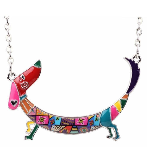 Metal Chain Enamel Pet Choker Dachshund Dog Necklace Pendant Collar