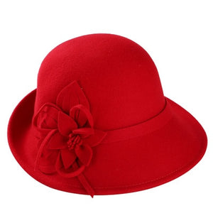 Female Winter Australia Wool Vintage Floral Fedoras Felt Hats French Bowler Sombrero Fedora Wool