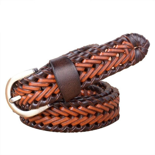Braided Cowskin Leather Belt With Wide Strap