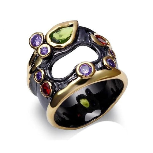 Olivine Red Purple Color CZ Rings for Women Neo-Gothic Hollow Jewelry Wedding Valentine Gift